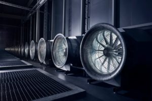 I love this shot because it looks like a sci-fi movie. These enormous fans draw in the outside air to cool the tens of thousands of servers in the data hall.: Mark Zuckerberg