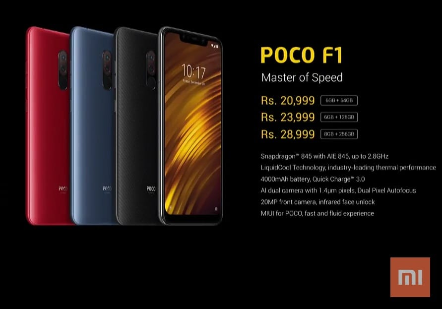 Xiaomi Pocophone F1 Launched With Lower Price  High
